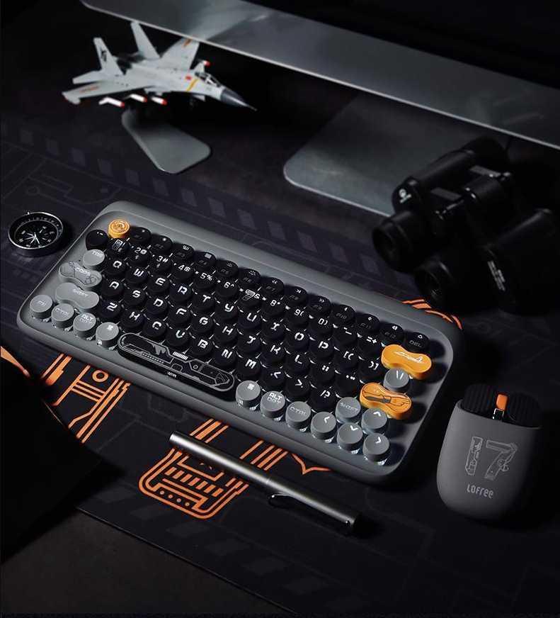 LOOMREE الطائرات الناقل نمط نقطة اللاسلكية بلوتوث لوحة المفاتيح بارد الخلفية مكتب الميكانيكية لعبة لصبي لوحات المفاتيح