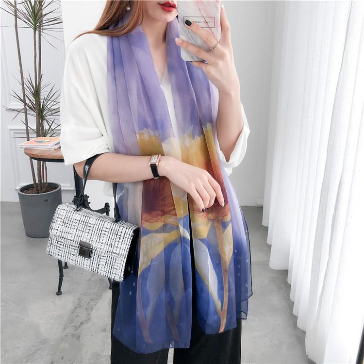 Elegant Fashion Design Spring Women Lady Shawl Silk Long Soft Scarf Scarves Creative Summer Beach Chains
