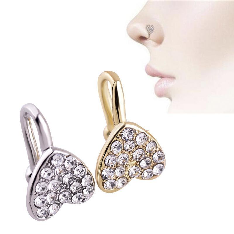مقطع على الأنف الدائري ثقب مجوهرات الأزياء هيكل الجسم على شكل قلب على شكل قلب جديد، ثقب غير مسامية 284 Q2