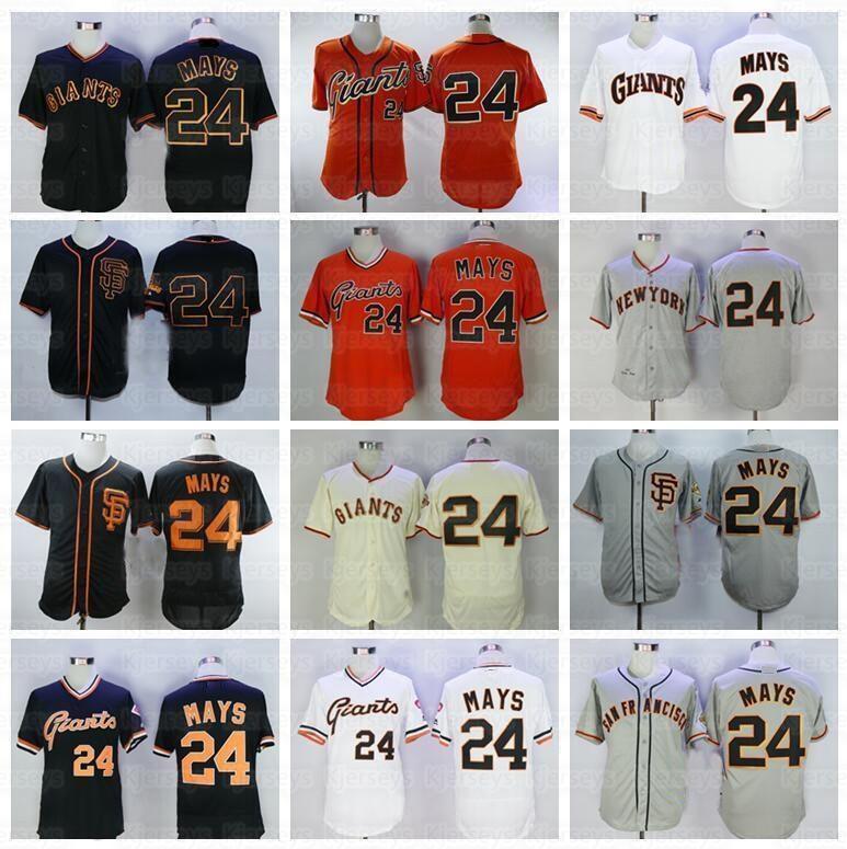 Mulheres crianças retrô 1989 vintage willie mays beisebol jersey cool base pulôver flexbase respirável equipe cor preta cinza laranja laranja bege