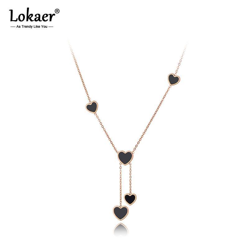 Lokaer التصميم الأصلي الفولاذ الصلب جميل القلب سحر قلادة بوهيميا الأسود أكريليك قلادة سلسلة مجوهرات للنساء N20047 سلاسل