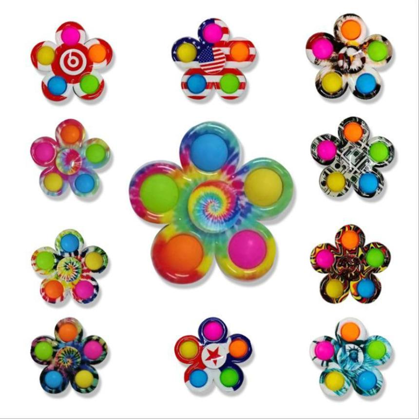 Colorful Sensory Fidget Push Bubble Board Toys Simple Dimple Fidgets Plus 3 Leaf 5 Sides Finger Play Game Anti Stress Spinner 2021 New