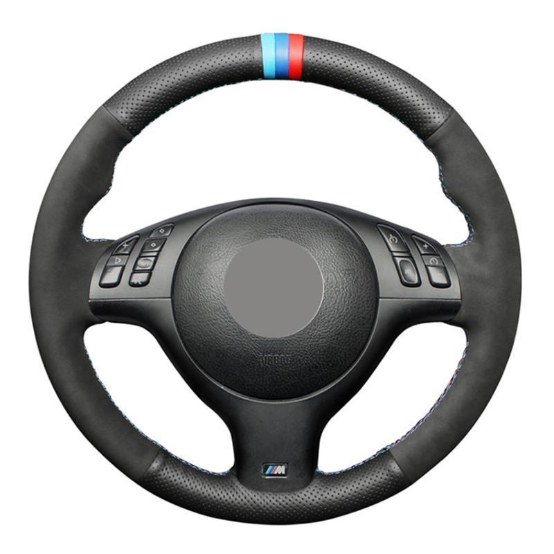 Volant couvre la couverture de voiture en cuir en daim noir pour M Sport 3 Series E46 330i 330CI 5 E39 540i 525i 530i m3 m5 2000-2006