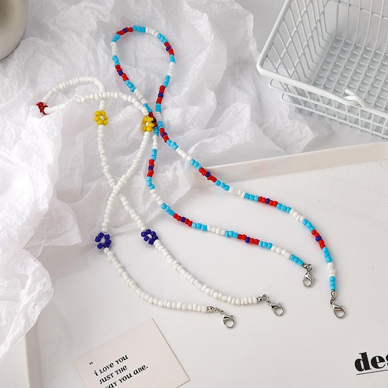 Masque de fleur en perlé Masque anti-goutte Couleur de la chaîne de la corde de corde de corde de corde de corde anti-perd de haltères couchages