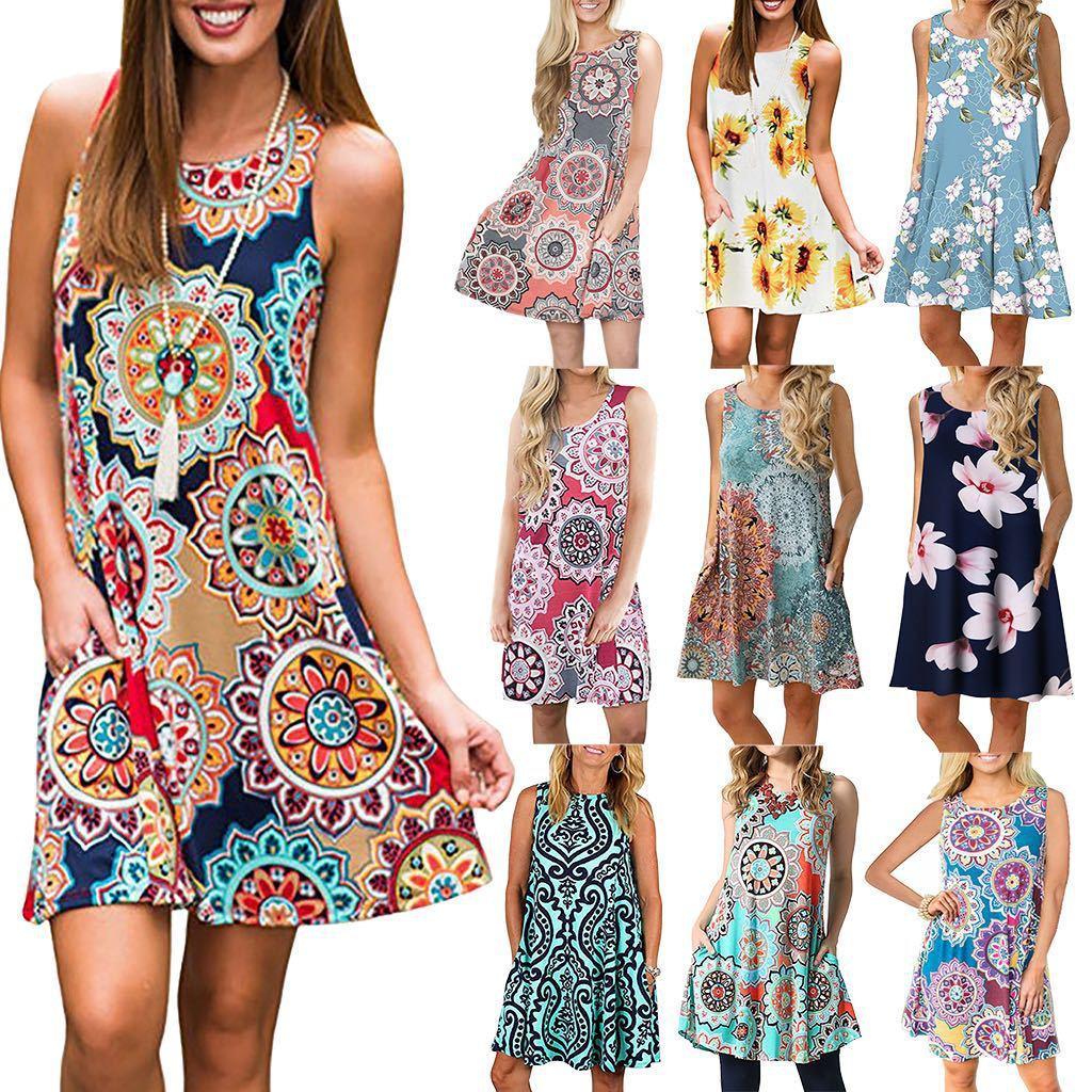 Kleider SCOOP Hals Druckgedruckt ärmelloses Kleid europäischer und amerikanischer Frauen tragen im Sommer plus Größe S / M / L / XL / XXL / XXXL