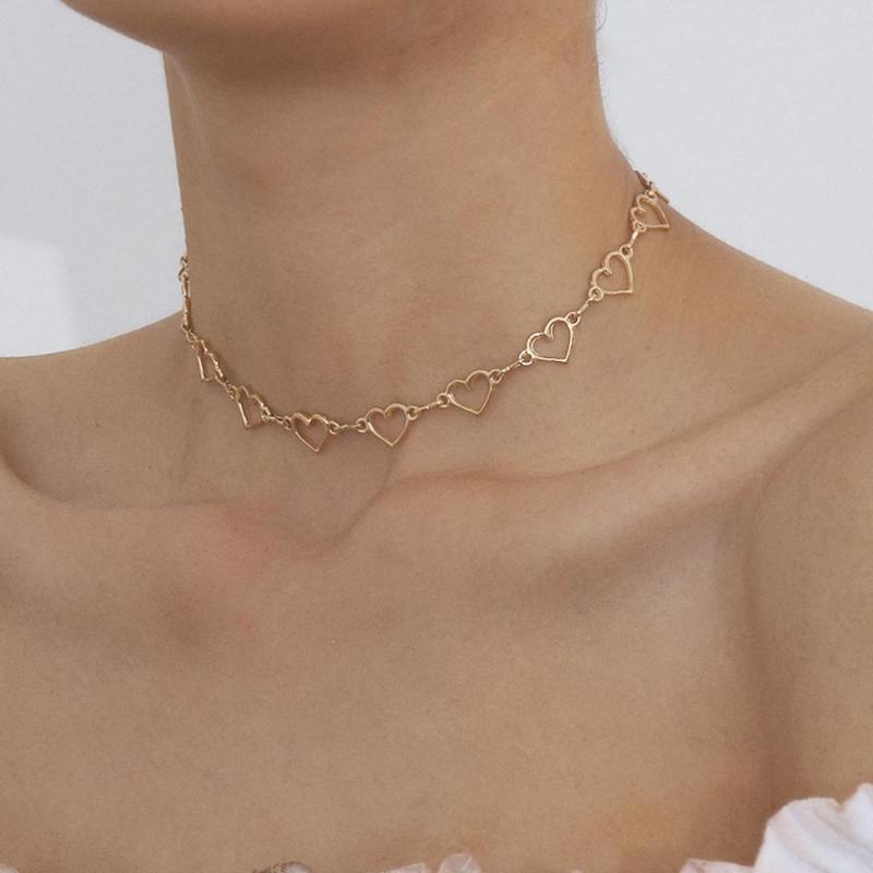 Kore Sevimli Aşk Bağlantılı Kalp Gerdanlık Kolye Bildirimi Kız Arkadaşı Hediye Gümüş Renk Kolye Takı Collier Femme