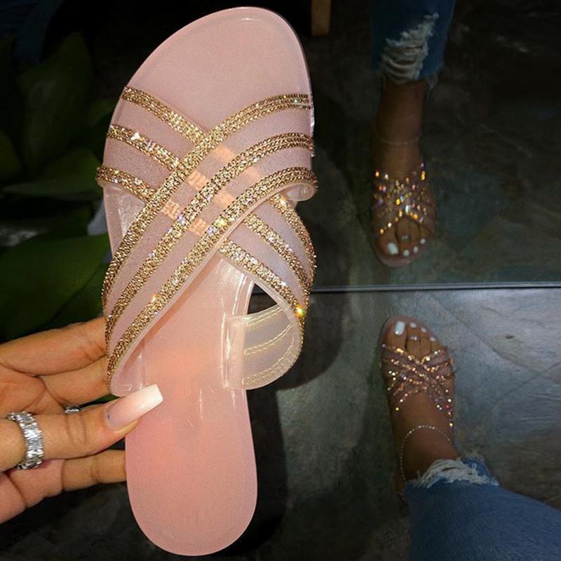Sommerschuhe Frau Sandalen für Frauen 2021 Bling flache Rhinestone Damen Strand Sandles Designer Luxus Sandalias Mujer Sandels