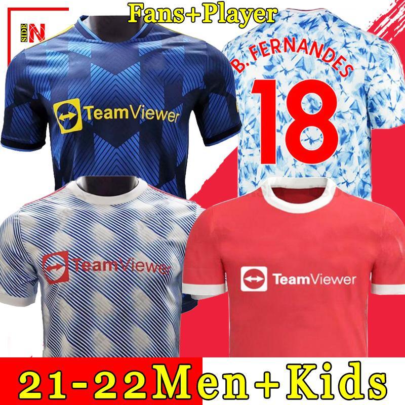 2020 2021 맨체스터 축구 유니폼 CAVANI VAN DE BEEK B. FERNANDES RASHFORD 축구 셔츠 팻 플러스 사이즈 셔츠 20 21 남자 + 키즈 키트