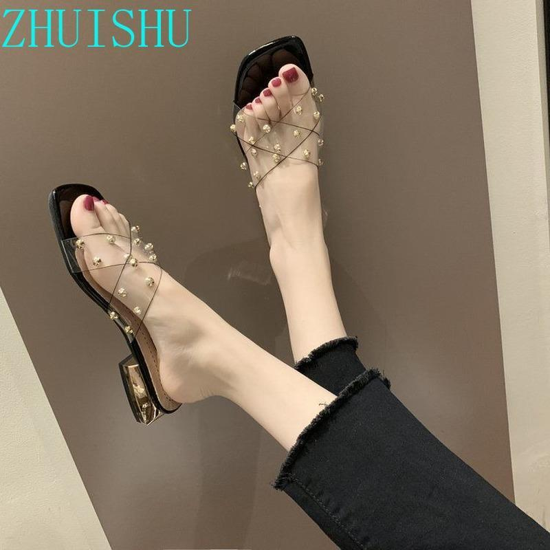 Slippers Women's Outer Wear Fashion Thick Heel Sandalias bajas y 2021 transparentes