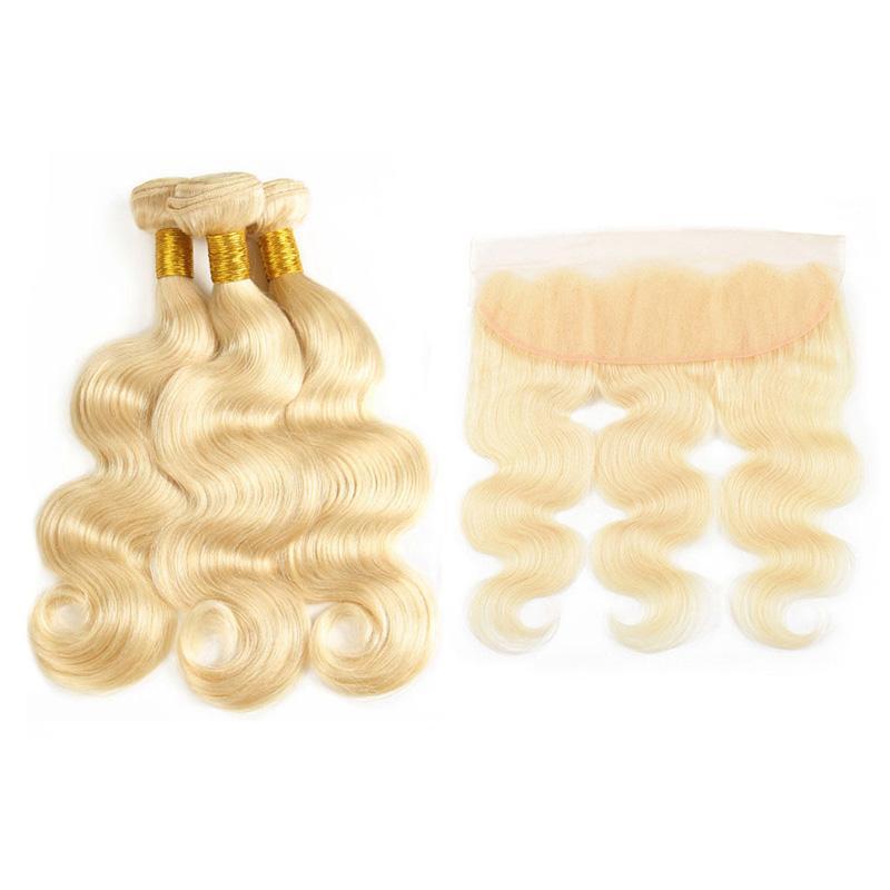 # 613 Platinum loira corporal onda cabelo weave com orelha frontal de renda para fecho de orelha com pacotes lixívia loira extensões de cabelo humano brasileiro