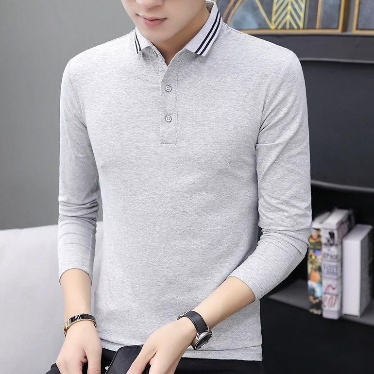 Pure Cottont-Camiseta Primavera e Outono Homens Longa Lapela Roupas de Lapela Pura Tendência Polo Camisa