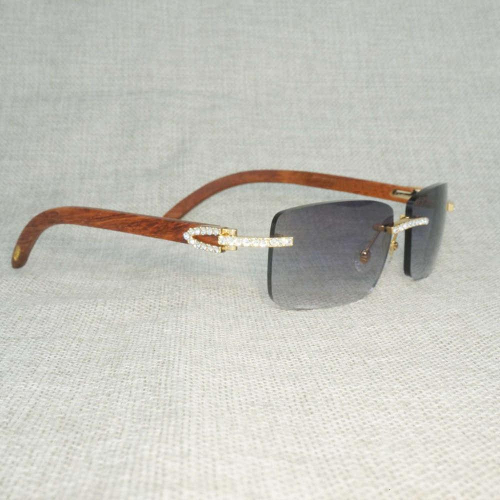 Rhinestone Natural Wood Rimless Sunglasses Men Wooden Square Sun Glasses Retro Stone Shades Oculos Eyewear for Club Summer