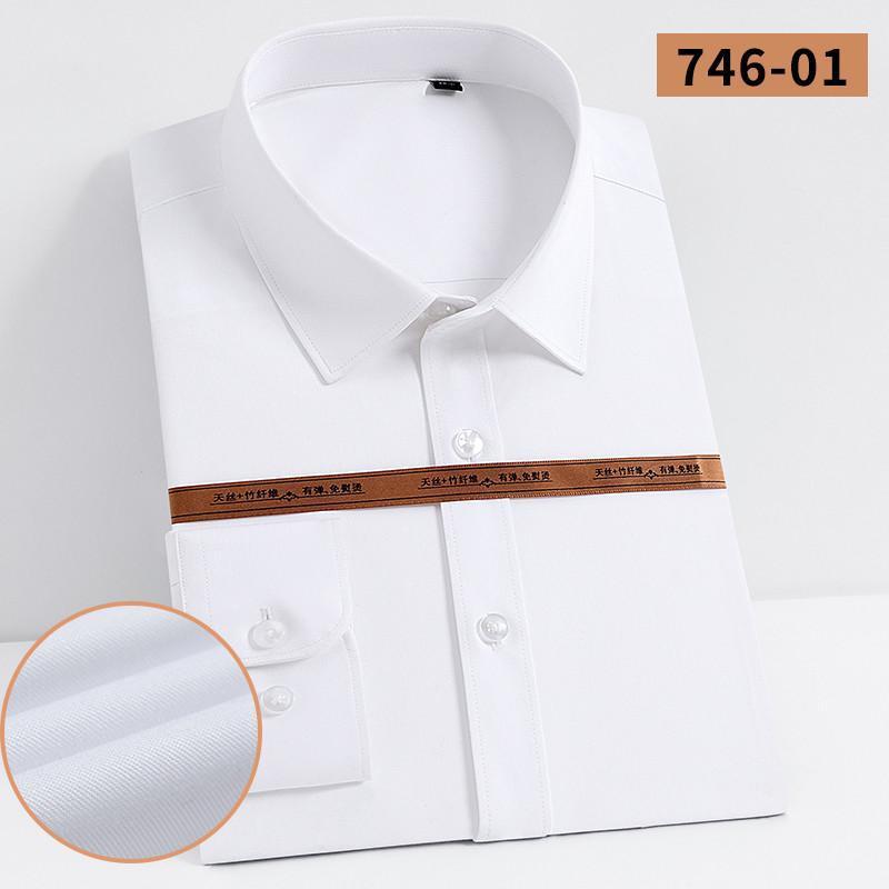 슬리브 대나무 비즈니스 공식 표준 맞춤 디자인 긴 드레스 캐주얼 셔츠 솔리드 섬유 패션 포켓 - 덜 스트레치 셔츠 남성