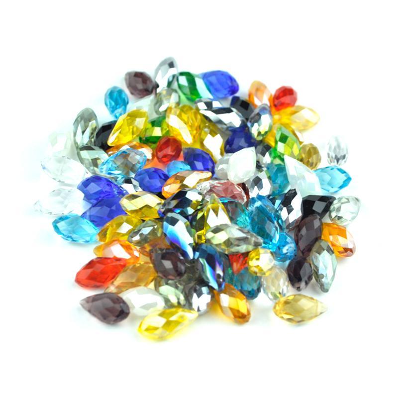 Wholesale Crystal Circular 900pcs /ロット6x12mmガラスビーズ混合カラーブリエットペンダントティドロップ