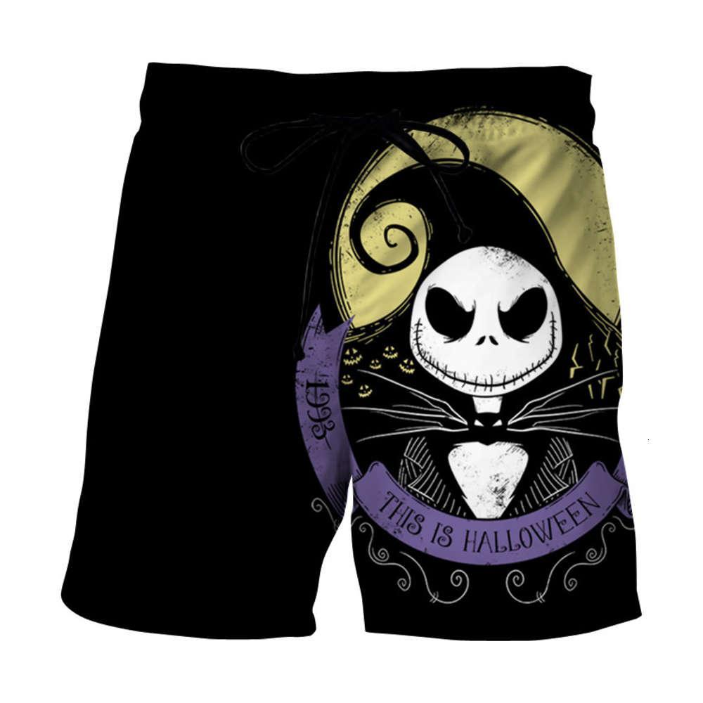 Pantaloni casual da uomo Spiaggia da uomo Halloween Funny 3D Digital Stampa da stampa pantaloncini