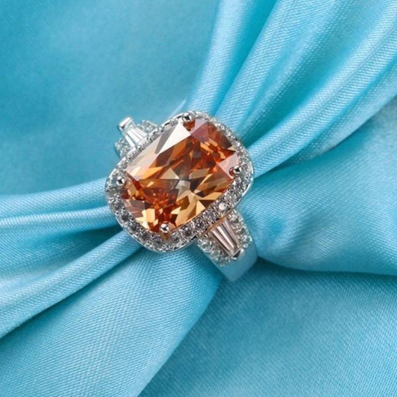 트렌디 한 작은 지르콘 상감 된 사각형 흰색 약혼 반지 여성용 손 보석 액세서리 도매 클러스터