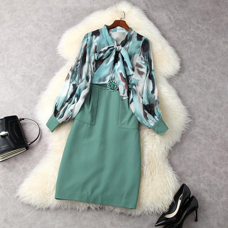 유럽 및 미국 여성 의류 봄 2021 새로운 랜턴 슬리브 긴 소매 활 칼라 인쇄 스테이플 링 다이아몬드 벨트 드레스