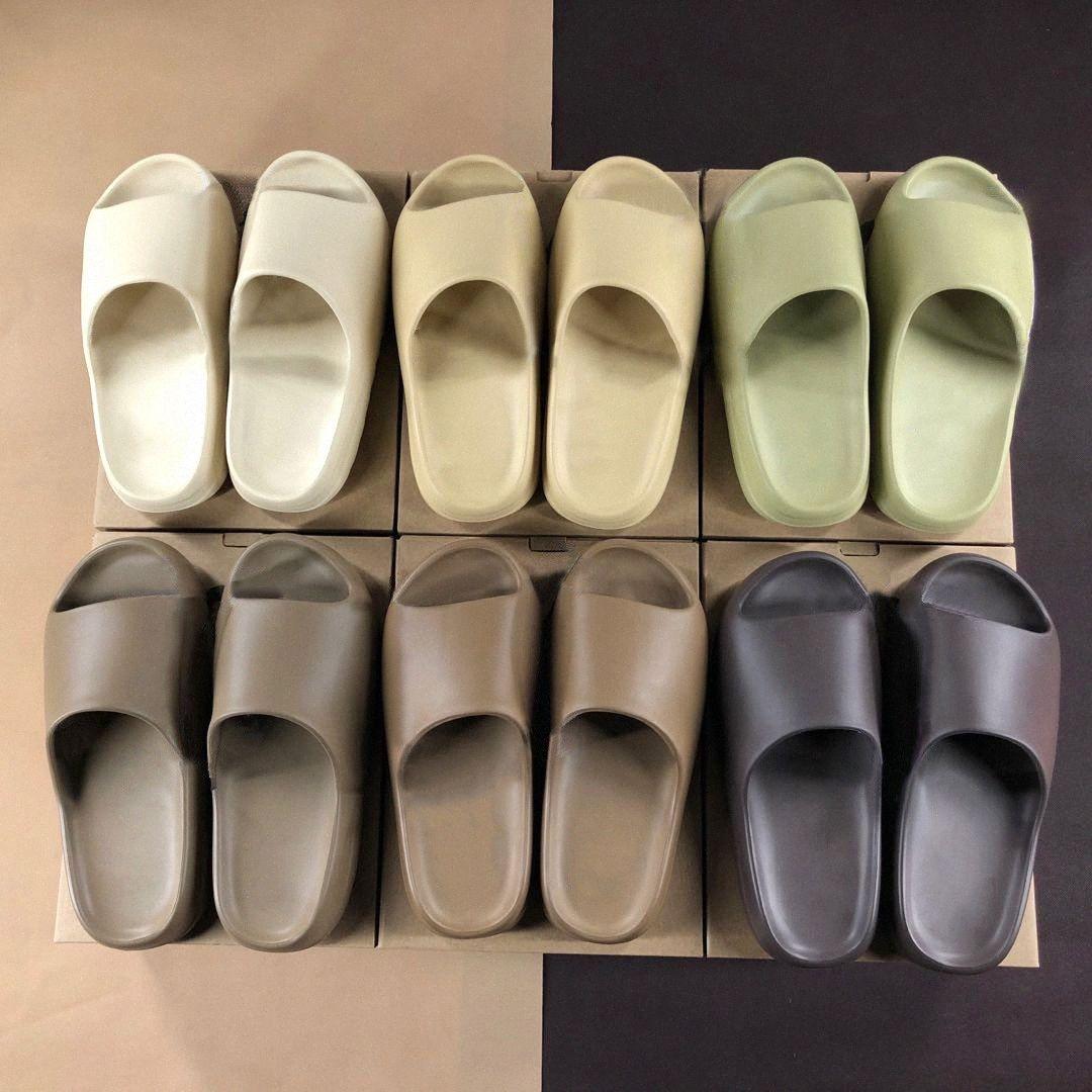 2021 Kanye Slides Slippers Bone Resin Resina Desierto Arena Corredor de espuma Ararat Rubere Occidental Moda Summer Temporada 6 Brown Piso Hombres Mujeres Slide Playa D6CU #