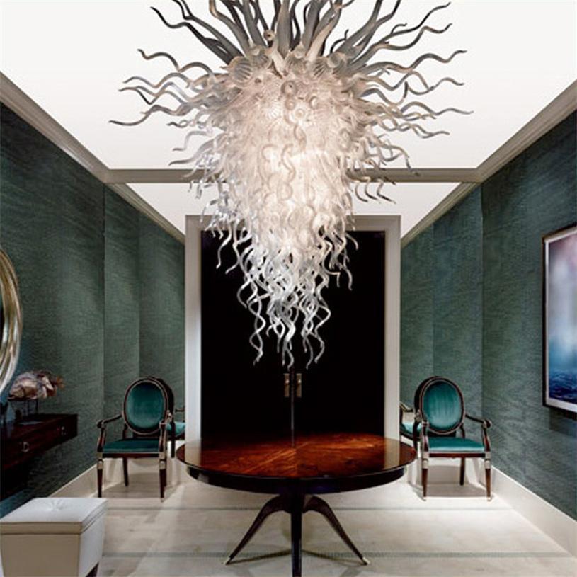 Große Pendelleuchten LED Weiße Farbe Glas Kronleuchter Licht Für Wohnkultur 100 von 150 cm Wohnzimmer Hand Geblasenes Murano Indoor Beleuchtung Leuchtmittel Hotel Projekt Lichter