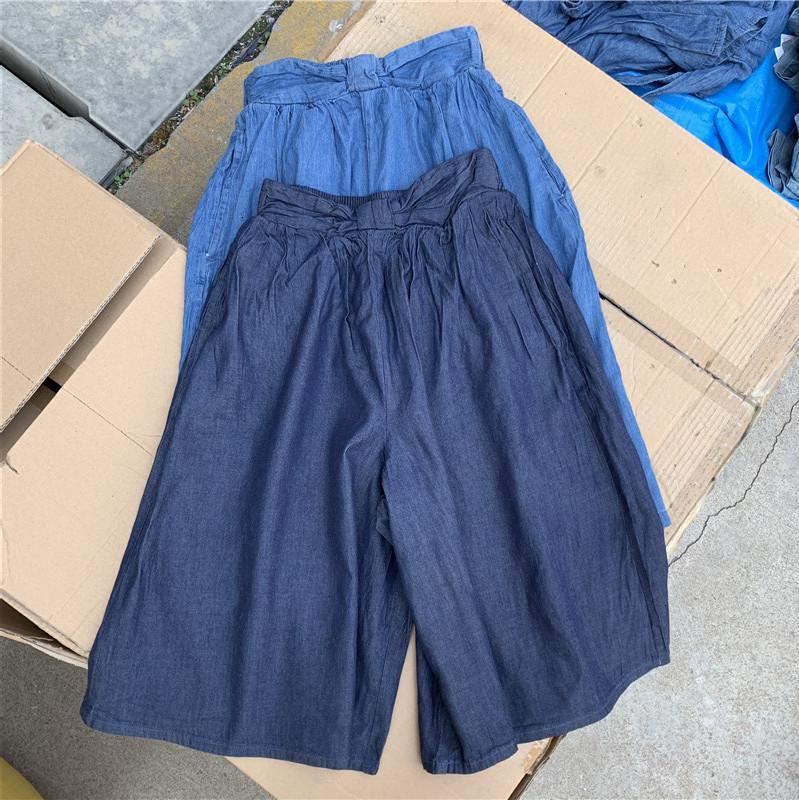 Japanische Single Wear Summer Girls 'Middle and Große Kinder Vielseitige Jeans Capri Wide Beinhose