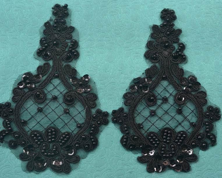 20 adet / grup Çiçek Çiçek Venise Siyah Kumaş Boncuklu Dantel Aplike Dikiş Trimler DIY Craft TT-4019