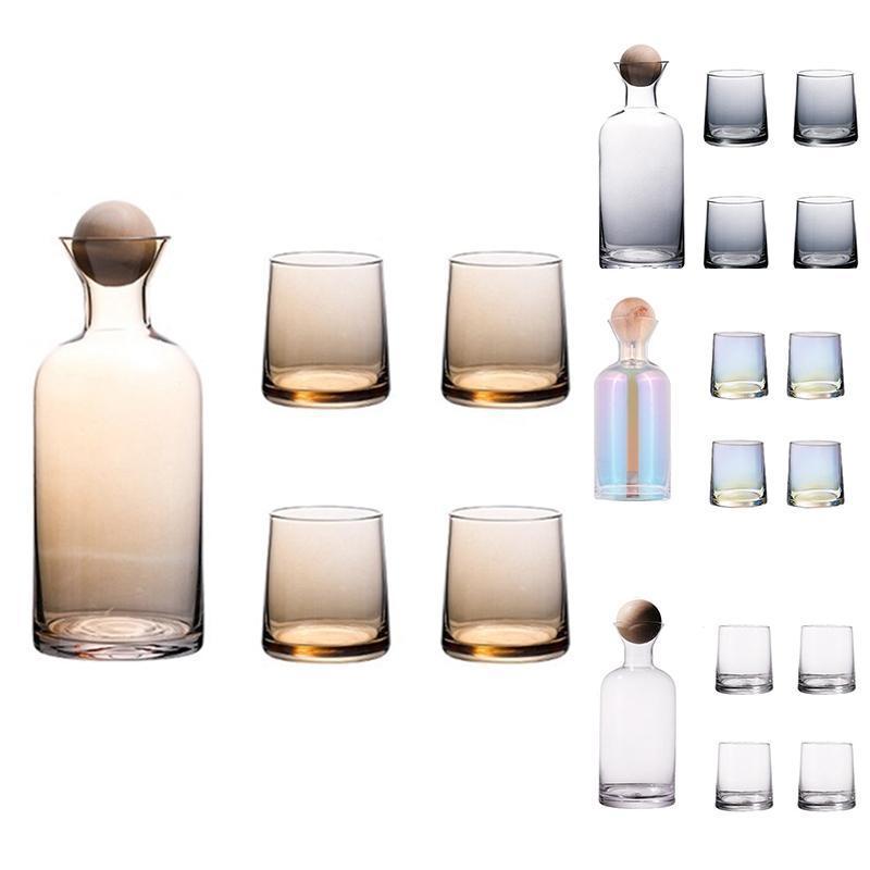 럭셔리 위스키 안경 나무 공을 가진 물 주전자를 세트 주스 칵테일 와인 세트에 대 한 뚜껑 맑은 용기