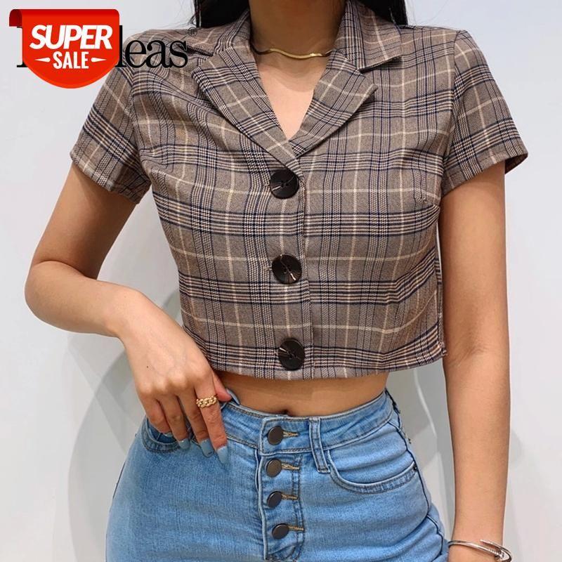 Chic Tartan Brown Blusas Moda Blusa Feminina Vintage Gire para baixo Botões de colarinho Blusa Mulheres # B68G