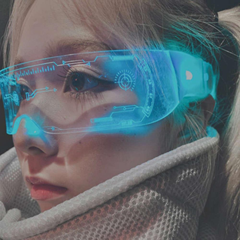 Cool Cyberpunk Clear Lente 7 Cor LED Luz Luz Vidro Rezze Visor Robocop Futurista Vida Noturna Dropshipping Sunglass