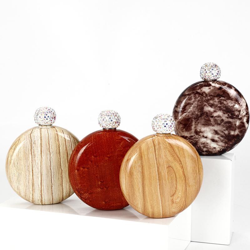 الفولاذ المقاوم للصدأ الماس الفخذ قارورة الخشب الحبوب جولة المحمولة السيدات زجاجة النبيذ مصغرة مع غطاء حجر الراين