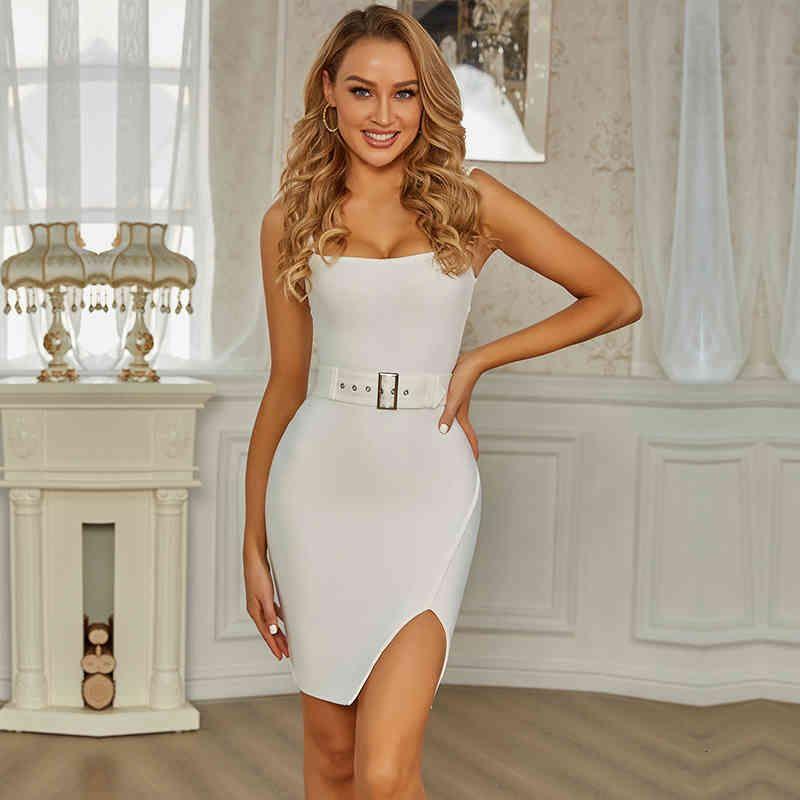 Elbise SWTAO Beyaz Çizgili Seksi, Split, Kemer, Tayt, Abiye, Gece Kulübü, Yaz 2021 Juvh