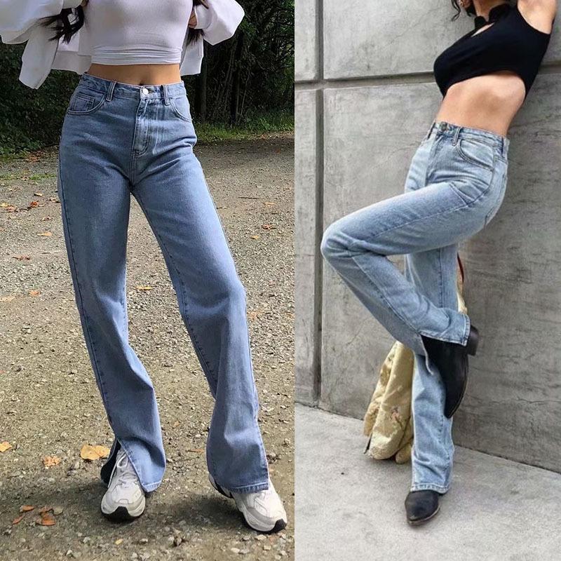 Ins Blogger Popolare Lavaggio popolare Vita alta Vita divisa divisa da donna Gamba larga Pantaloni lunghi Pantaloni a bottone Metallo Decorazione Casual Tempo libero Pantalone