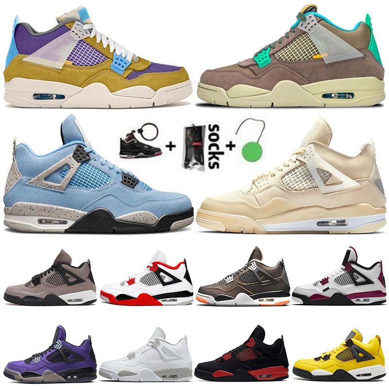 Nike Air Jordan Retro 4 With Box Fire Red Thunder Jumpman 4s Mens Basketball Shoes Trainers Taupe Haze University Blue White Oreo Sail Sneakers Taglia 36-47
