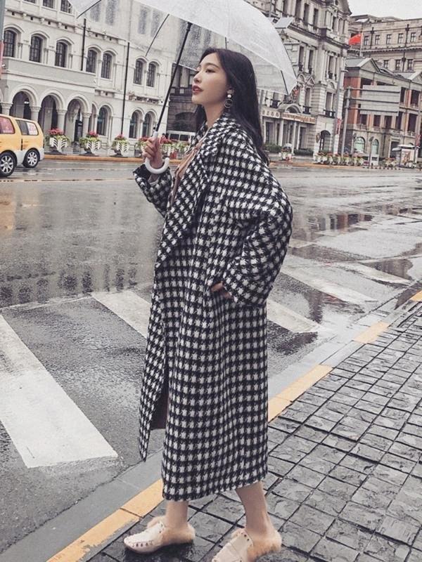 Сондр женские шерстяные пальто средней длины женщин 2020 осенью и зима новое толстое шерстяное пальто контрастный цвет R8qx #