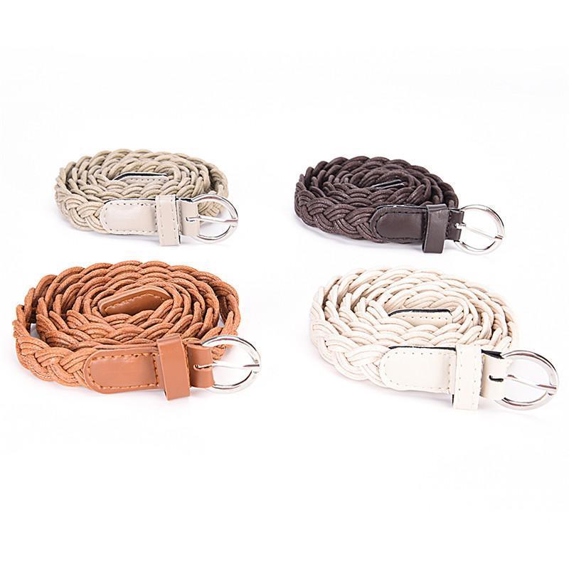 110 cm couro tecer cintos mulheres cinto trançado magro cintura casual cinta