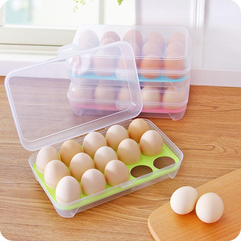 Lagerbehälter Single Layer Küche Kühlschrank Food 15 Eggs Airted Tragbare Plastikeikasten