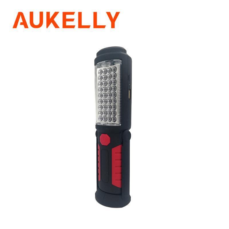 Aukelly USB قابلة للشحن ضوء العمل حامل المحمولة LED الشعلة فانوس في الهواء الطلق 36 + 5LED مصباح العمل مع المغناطيس هوك مشاعل إلى المشاعل