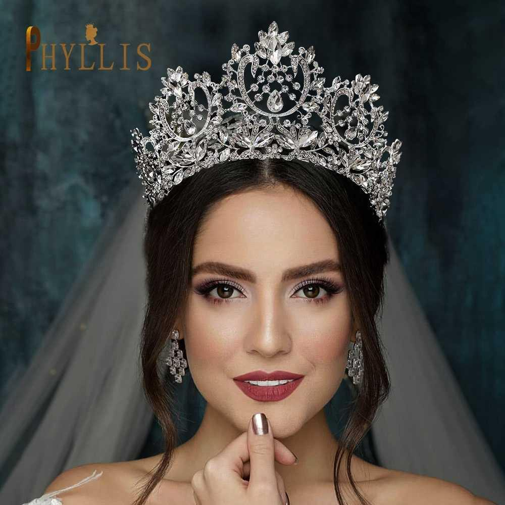PHYLLIS A195 Wedding Crown for Bride Hair Jewelry Gifts Tiara Crystal Accessorie Headband Bridal Headwear 210616