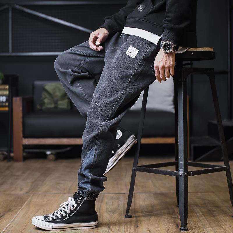 Jeans outono homens coreano moda solta e versátil larga perna 2021 extra grande espartilho casual pantskze