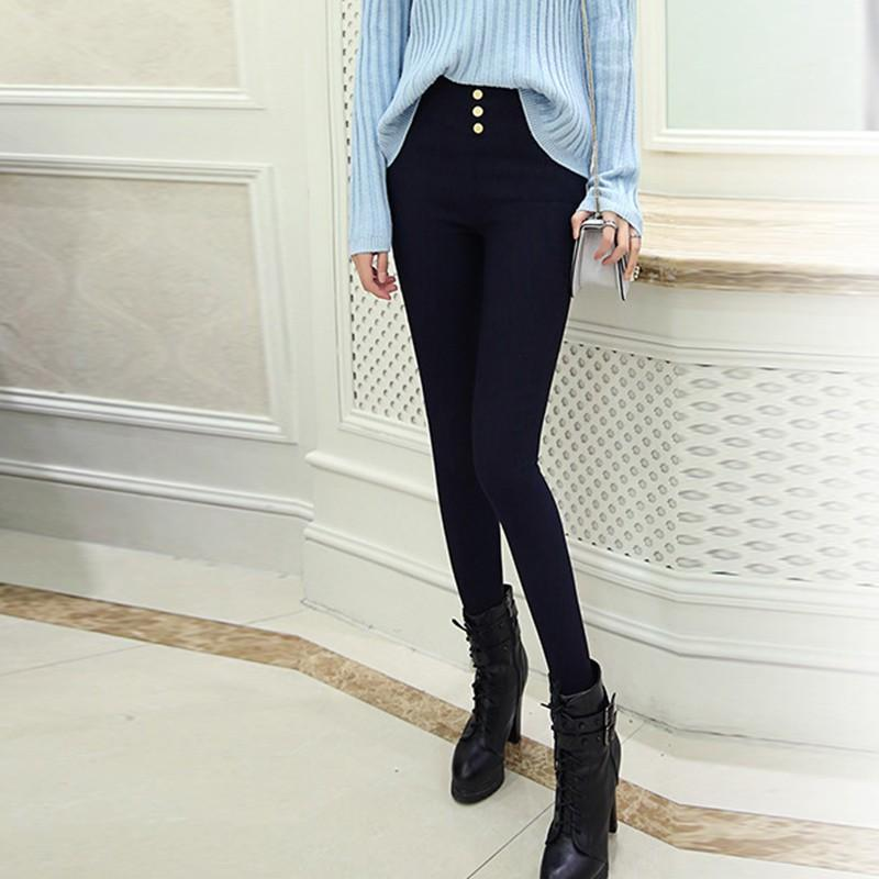 Mulheres primavera calças de cor sólida 2021 Chegada fina estiramento preto alta cintura botão todos os capris femininos