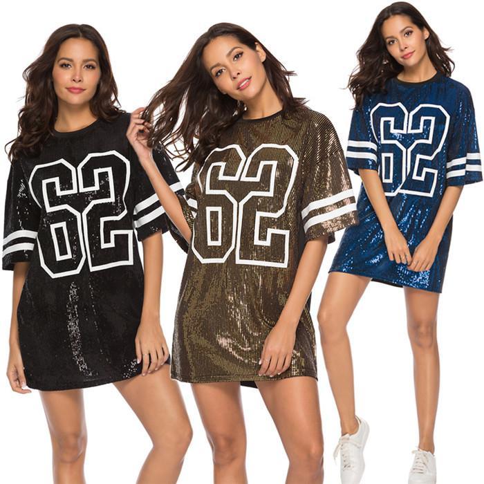 Womens Sequins Tshirt Dresses Loose Digital Pattern Summer Straight Mini Dress Fashion Casual Ladies Clothes