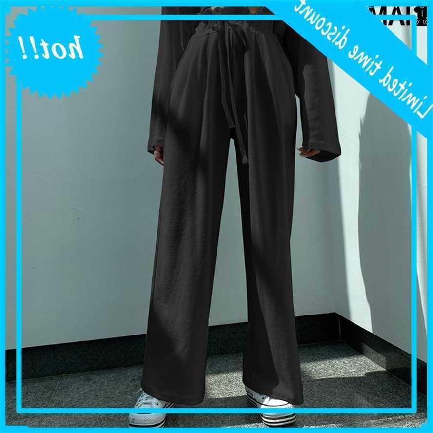 Iamsure Harem Pantalones rectos Mujeres Estética Baggy Black Tallastic Pantalón Elástico Casual Sweypants 2020 Moda Coreana