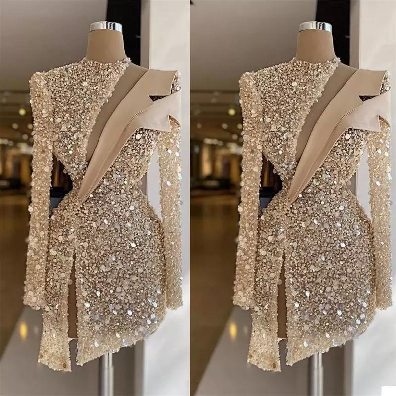 2022 Designer Champagne Evening Dresses Long Sleeves Tulle Luxury Beaded Crystals Ruched Above Knee Length Custom Made Prom Cocktail Party Gown vestidos