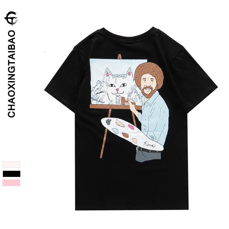 Chao marca camiseta corta barato dedo medio gato saludo pintor pintura al óleo impresión de dibujos animados media manga abrigo inferior