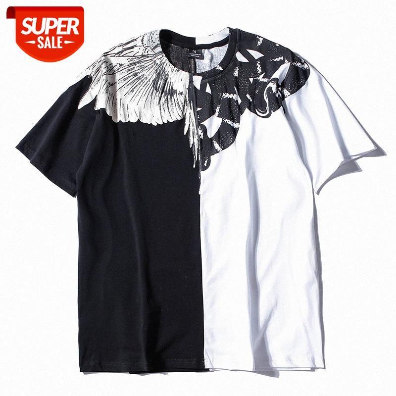 SS Europeia e Americana Marca na moda MB Asas Yin Yin Contraste Cor Spell Snake Snake de Manga Curta T-shirt Verão Meia-manga Solta homens # 7m0m