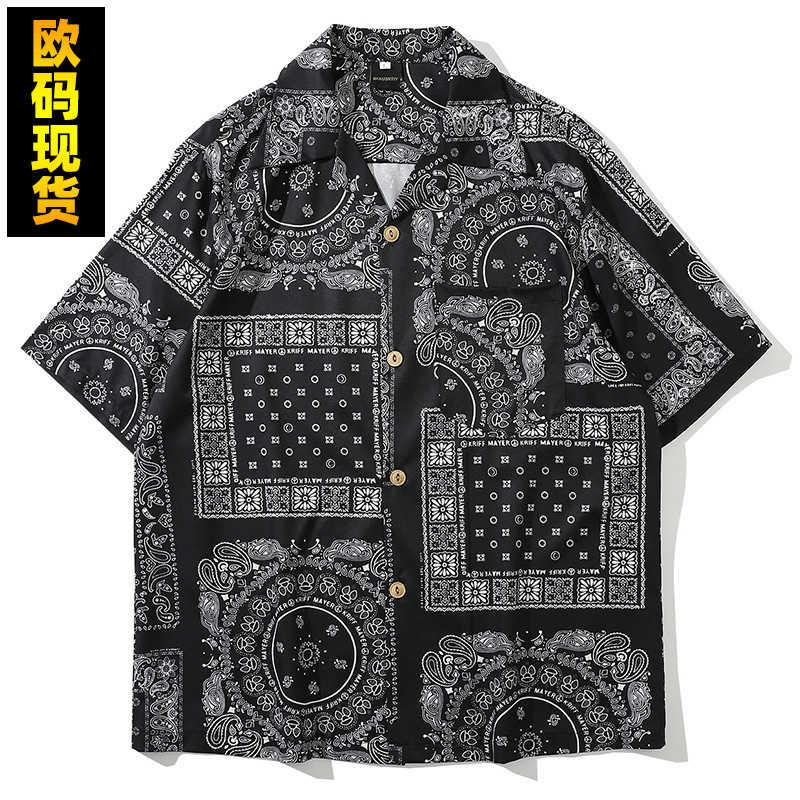 Camisa de los hombres 2021 Tropical Hawaiian Style Style Casiw Flower Print