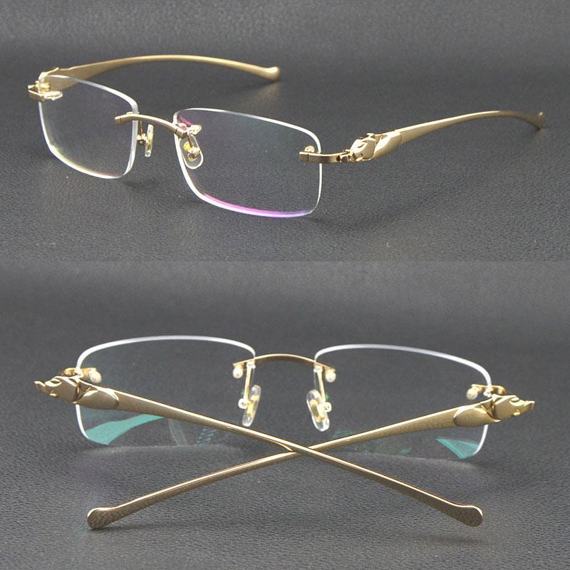 팔이없는 금속 표범 시리즈 판매 팬더 광학 18K 골드 선글라스 스퀘어 안경 둥근 모양 얼굴 안경 남성과 여성 상자 C 장식 UV400 렌즈