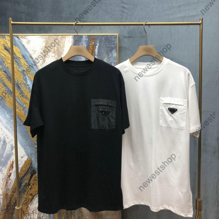 21SS Summer Luxury Tshirts Tshirts Hombre letra Impresión T SHIRT Designer Triángulo Pocket T Shirts París Ropa Camiseta de manga corta Estilo suelto