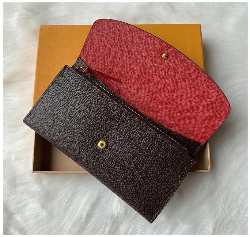 Wholesale Classic 9 colors fashion single zipper pocke men women leather wallet lady ladies long purse with orange box card