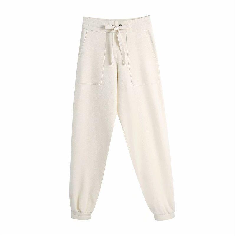 Evfer Kadınlar Bahar Moda İpli ZA Örme Uzun Bej Pantolon Kadın Rahat Elastik Yüksek Bel Gevşek Pantolon Chic 210525