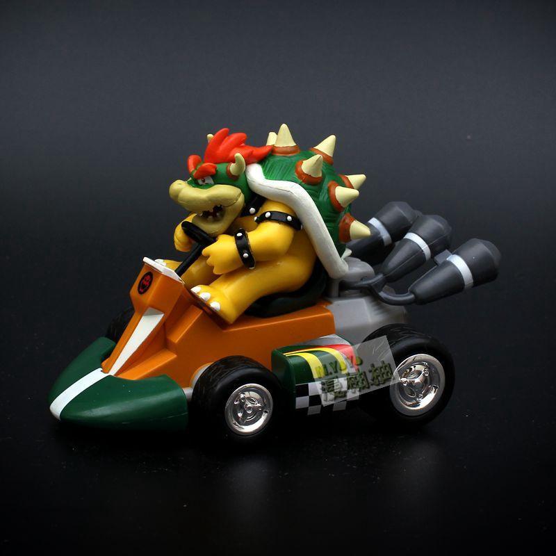 15cm PVC Pull Back Racers Vehicle Toys Yoshi Bowser Koopa Princess Peach Racing Model